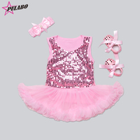 3 stks! pasgeboren meisje dress pailletten bretels fashion kids tutu dress infant meisjes haarband + tutu dress + schoenen party dresse