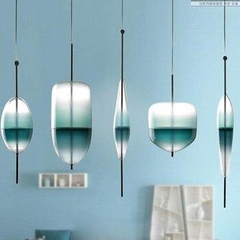 Скандинавское современное каплевидное голубое стекло подвесной светильник LED арт-деко простая белая Подвесная лампа для гостиной ресторан...