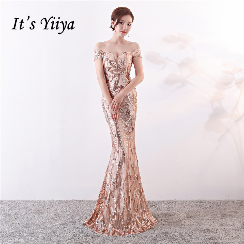 It's Yiiya   evening     dress   Strapless Sequined zipper back trumpet Party gowns Floor-length Backless Long Mermaid Prom   dresses   C138