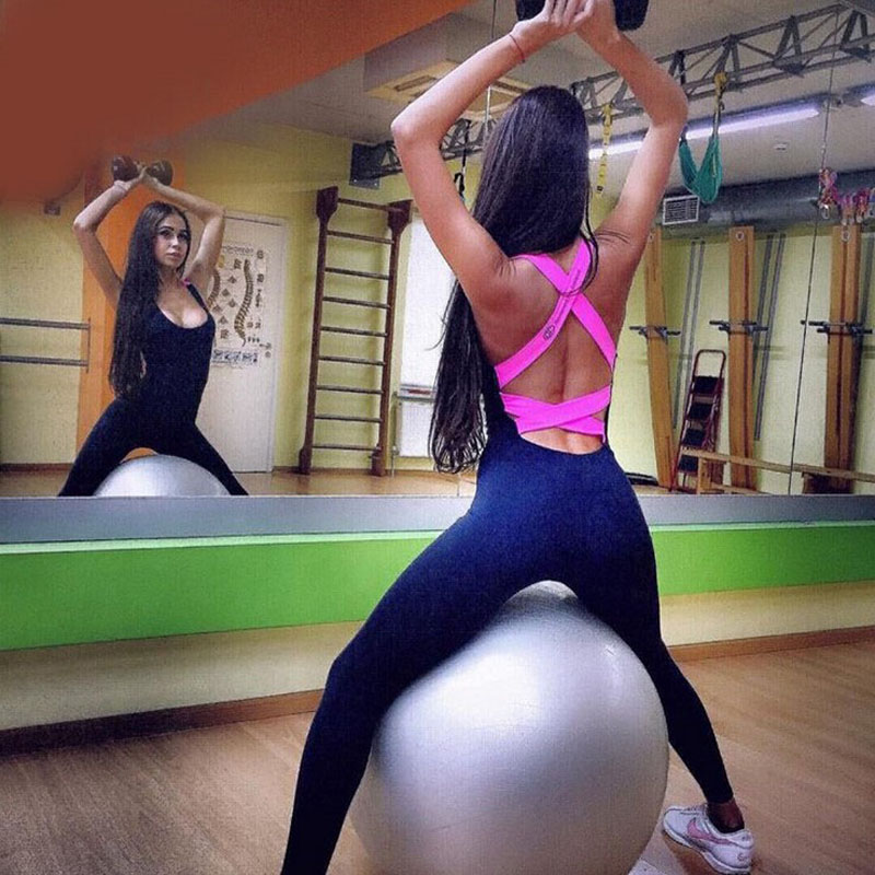 Women Sexy Cross Bandage Sports Set Tracksuit High Waisted Skimpy one-piece Girls Yoga Fitness Clothes Tight Jumpsuits Leggings