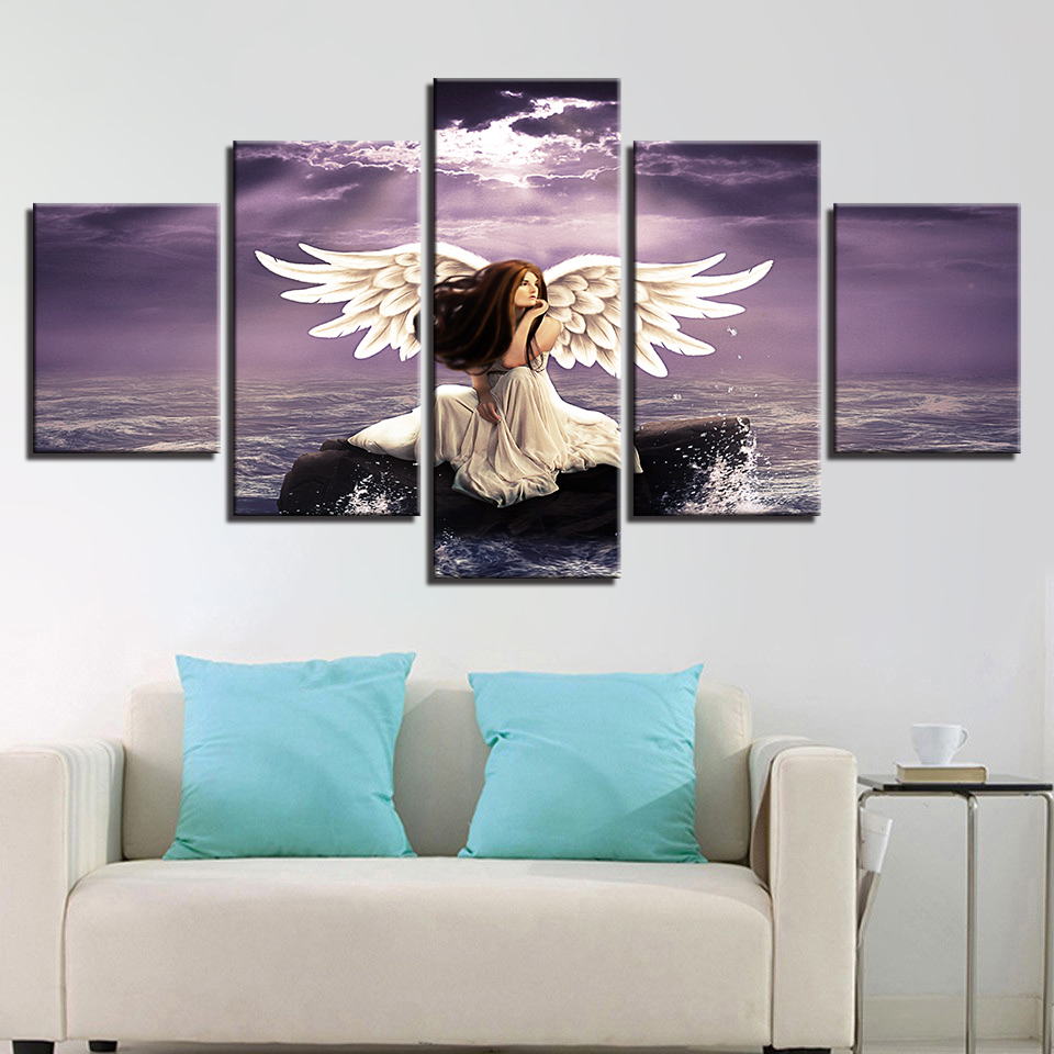 Printing Scenery Canvas Pictures Decor Modern Wall 5 Pieces Girl Angel Wings And Sea Water Painting Framework Modular Poster Art in Painting Calligraphy from Home Garden