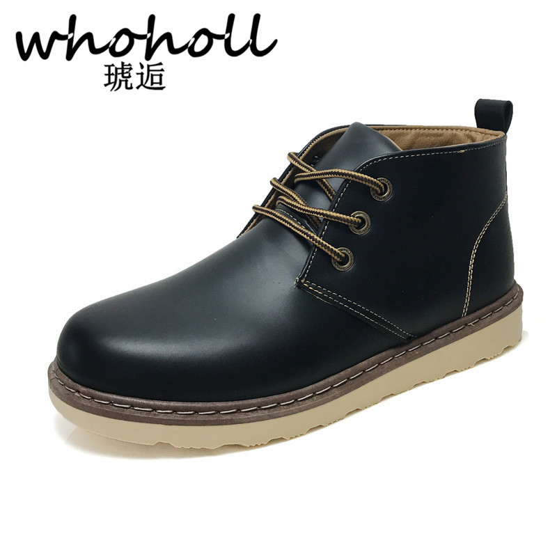 WHOHOLL Genuine Leather Men Boots Autumn Winter Ankle Boots Fashion Footwear Lace Up Shoes Men High Quality Vintage Men Shoes autumn winter men shoes vintage design fashion genuine leather ankle boots