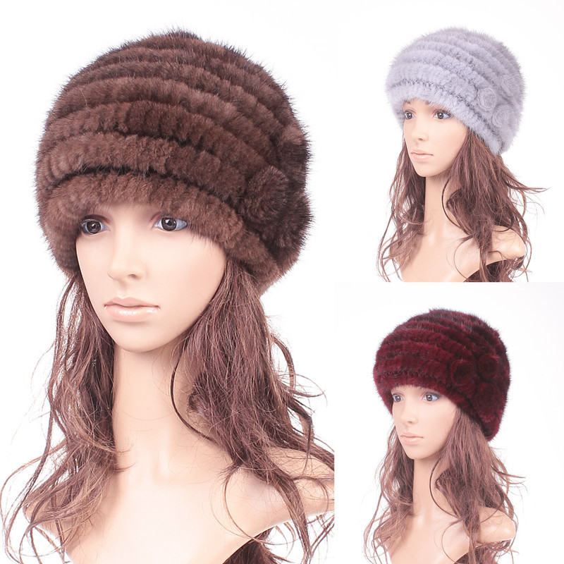 women's winter casual cap winter thermal mink knitted hat fur hat