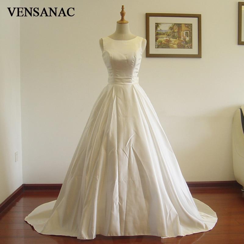 VENSANAC 2017 Nueva Una Línea Con Fruncido Barco Cuello Tanque Sin Mangas Barrido Tren Blanco Satinado Vestido de Novia de Novia Vestido de Novia 30571