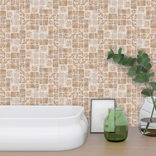 Fashion Vintage Square Mosaic 3D Wall Sticker Self Adhesive Removable Waterproof PVC Wallpaper For Bathroom Kitchen Home Decor
