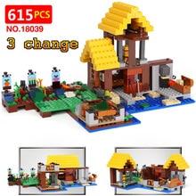 Новая техника LegoINGlys Minecrafter село 21144 игрушки для детей Классические фермы коттедж DIY Кирпичи Мини фигурку 18039