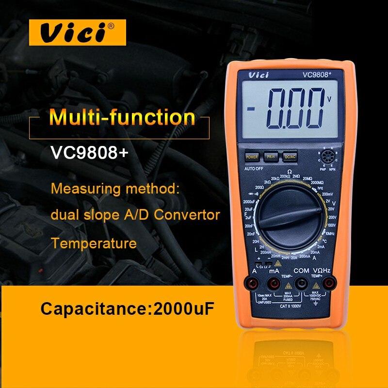VICI VC9808+ 3 1/2 Digital multimeter Electrical Meter Inductance Res Cap Freq Temp AC/DC Ohmmeter Inductance Tester