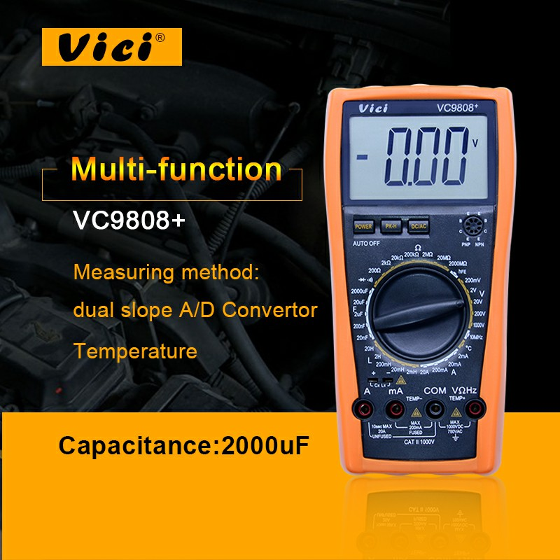 VICI VC9808 + 3 1/2 Indutância Res Cap Freq Temp multímetro Digital Medidor Elétrico AC/DC Ohmímetro Indutância Testador