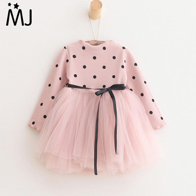 2017 New Spring Girls Dots Dress Cotton Princess Tutu Dresses Long sleeved Ribbon Children s Clothing