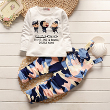 2016 New 100% Cotton Rompers Baby Sets Long Sleeve shirts+suspender pants kids Set Cute camouflage sport Baby Boy Clothes