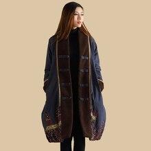 ผู้หญิงที่อบอุ่นยาวแจ็คเก็ตRetroเย็บปะติดปะต่อกันเสื้อหนาวผ้าฝ้ายผ้าลินินเสื้อผ้าเบาะJaqueta ...