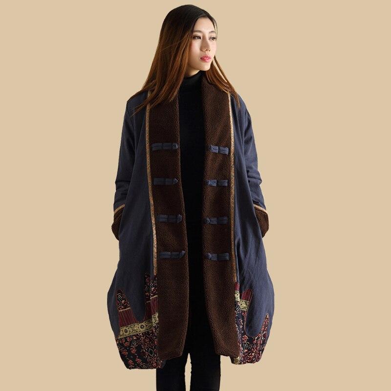 Women Warm Long Jacket Retro Patchwork Winter Coat Cotton Linen Padded Clothes Jaqueta Feminina   Parkas   Outwear Casaco Feminino