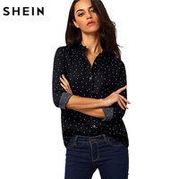 SHEIN Polka Dot Spotted With Buttons Blouse