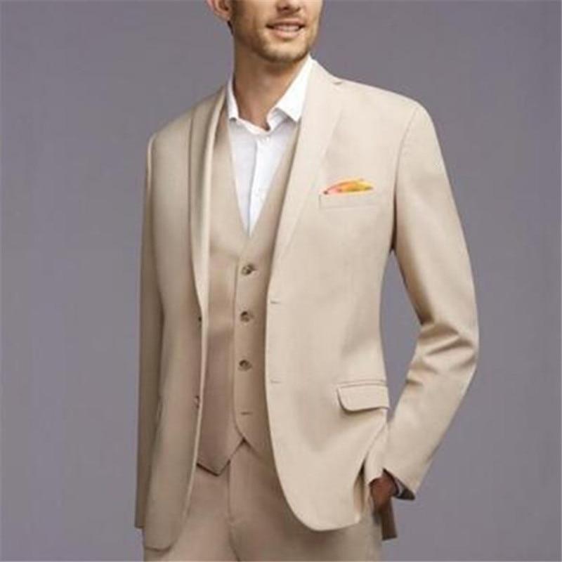New Casual British Style Cream Men Suits 3Pieces(Jacket+Pants+Vest+Tie) Fashion Slim Fit Tuxedos Groom Wedding Blazer 420