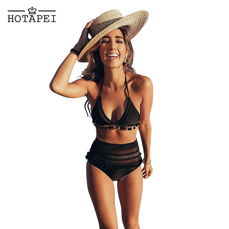 0e2dcb160d Hotapei 2019 Sexy Bikini High Waist Swimsuit Women Black Pom Pom Mesh Two  Pieces Swimwear Stripe