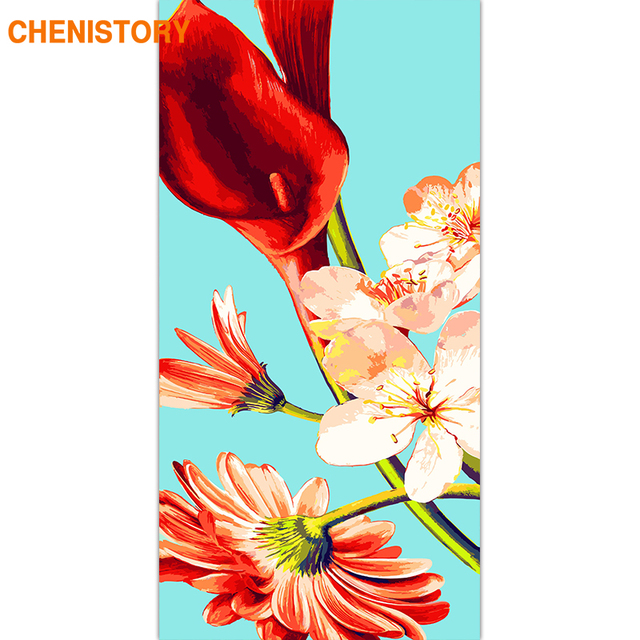 CHENISTORY Frame Flowers DIY Painting By Numbers Large Size Acrylic Paint By Number Wall Art Canvas Painting Home Decor 60x120cm