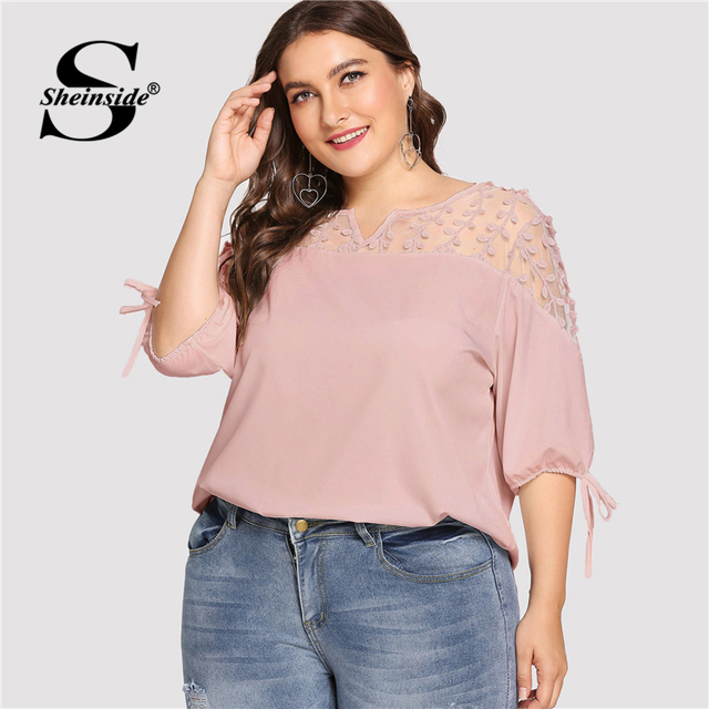 Sheinside Plus Size Pink Contrast Mesh Knot Cuff Blouse Summer Tops for Women 2019 V neck Half Sleeve Elegant Office Blouses 2