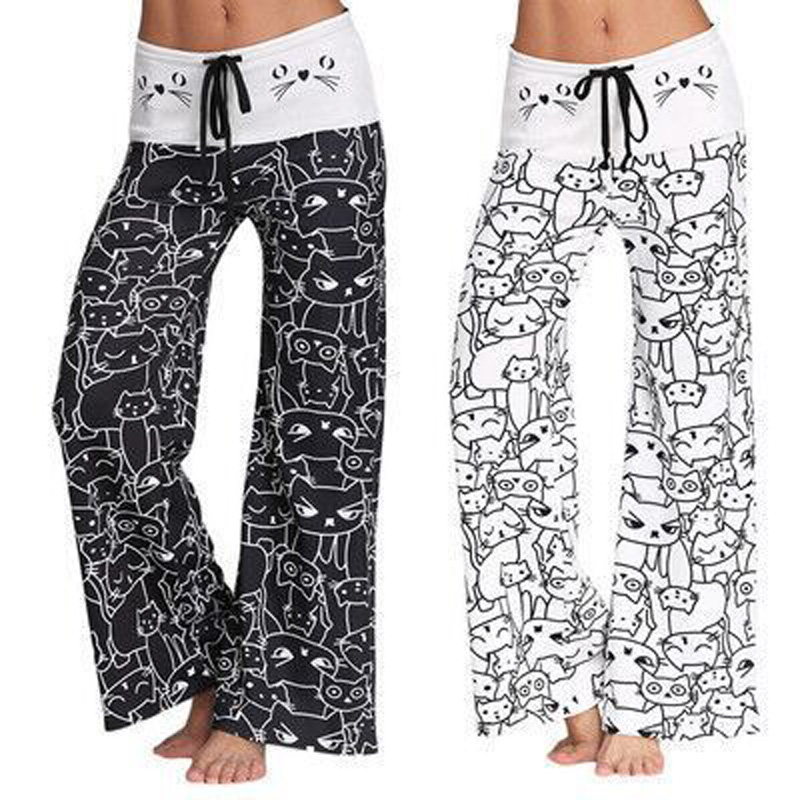 Summer Women Wide Leg Pants Cat Printed Drawstring High Waist Casual Trousers H9