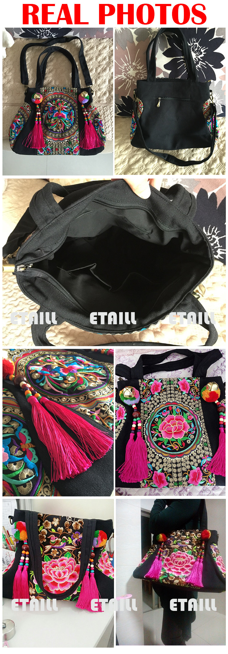 Embroidery Embroidered Bags Ladies