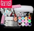 EM-82 Full Pro 9W White Cure Lamp Dryer & 12 Color UV Gel Nail Art Tips Tool Kits Sets  free shipping