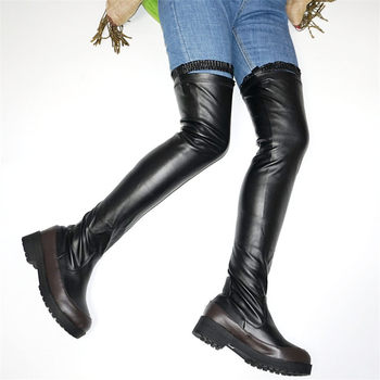 NAYIDUYUN    Thigh High Boots Women Over The Knee Riding Boots Stretchy Slim Leg Med Heel Punk Oxfords Round Toe Platform Shoes