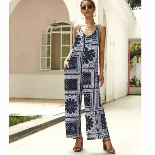 Women V Neck Strappy Backless Floral Prinr Pocket Playsuit Ladies Summer Vintage Long Jumpsuit Loose Wed Leg Trousers