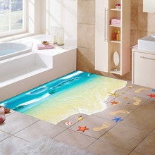 2016 Hot Creative 3D Wall Stickers Starfish Footprint Beach and blue seaside Bathroom Floor Sticker Kids wall decals  Poster