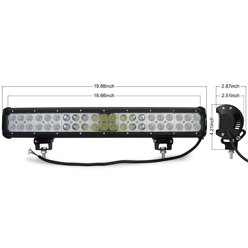 Image 3 - Safego 20 Inch 126W Led Light Bar Offroad 4X4 Led Work Light for Off Road Vehicle Trucks Tractor ATV 12V/24V 7800LM White 6000K-in Light Bar/Work Light from Automobiles & Motorcycles