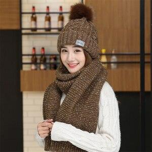 Image 2 - Chapeaux en velours pour femme avec écharpe, bonnet en laine, chaude, couvre oreilles, tricoté, mignon, ensemble de 2, hiver 2019