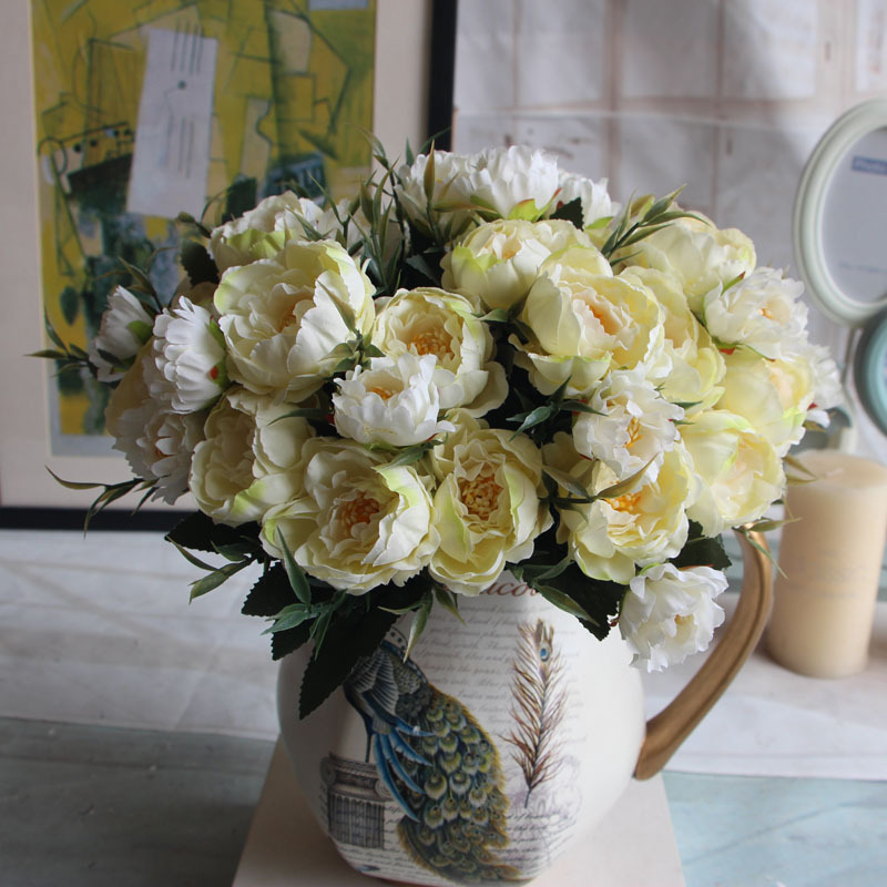 Aliexpress 8 Head Europe Peony Silk Flower Arrangement Artificial Fake Bouquet Wedding Living Room Table Home Garden Decor From Reliable