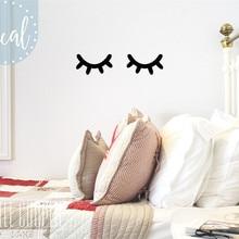Виниловая наклейка на стену с глазами для сна, детский Декор с закрытыми глазами для маленьких мальчиков и девочек, настенный стикер для дет...