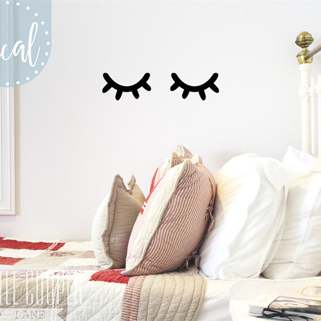 Charmant Sleepy Eyes Vinyl Wall Decal Sticker Closed Eyes Kids Decor Eyelashes Baby  Boys Or Girls Nursery