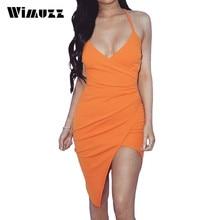 Wimuzz Bodycon Hohe Taille Sexy Slip Kleid Orange Vestidos Asymmetrische Club Kleid Frauen Abendgesellschaft V-ausschnitt Kleider