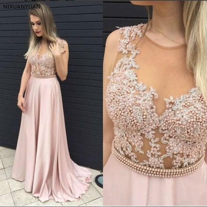 Robe De Soiree 2019 Custom Made Pink Chiffon Lace   Evening     Dress   Abiye Gece Elbisesi Long Pearls Belt Prom   Dresses   Abendkleider
