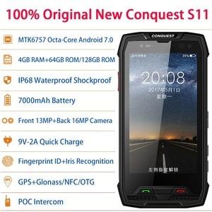 Image 3 - 征服 S11 7000 2600mah IP68 防水耐衝撃 4 3g スマートフォン 6 ギガバイト + 128 ギガバイト nfc otg 携帯電話アンドロイド 7.0 頑丈な携帯電話