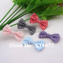 Lots Colors 40pcs U Pick Tartan plaid Ribbon Bows flower Appliques craft A074