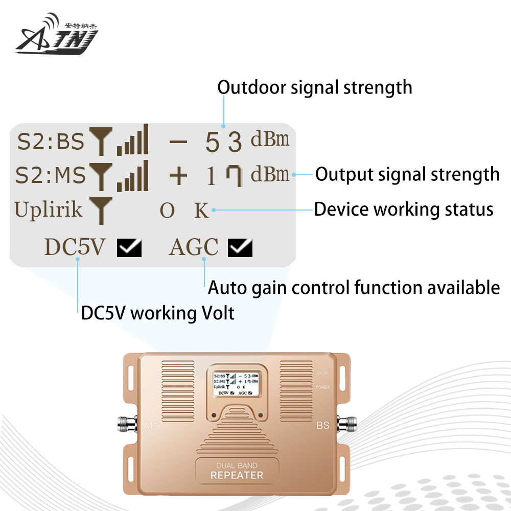 Image 2 - Smart 2G 3G 4G Mobile Signal Booster CDMA 850 LTE DCS 1800 Dual Band Cellphone Signal Repeater 70dB LCD Display 4G LTE Amplifier-in Signal Boosters from Cellphones & Telecommunications