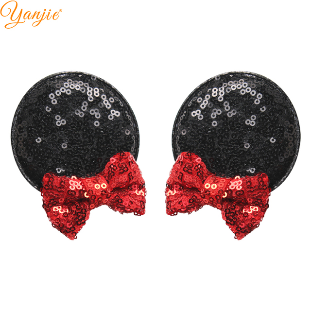 1 pair glitter minnie ears hairgrips kids hair accessories sequin bow minnie mouse ears for girls