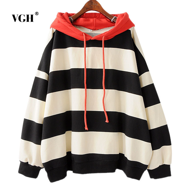 VGH Official Store VGH Oversized Women Zipper Sweatshirts Striped Full Sleeve Hoodies Loose Batwing Outerwear Pullover Ladies Winter Vestidos A4942