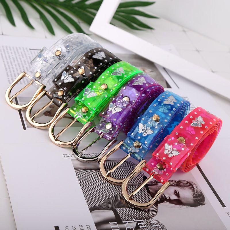 Sweet Candy Color Laser Butterfly Belt Women Dress Transparent Jelly Waist Belt
