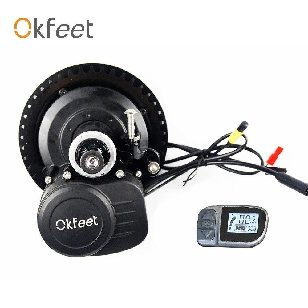 Okfeet livraison taxe sur mesure TSDZ2 Midmotor VLCD6 36/48 v 250/350/500 w vélo électrique Kit couple Capteur LCD affichage