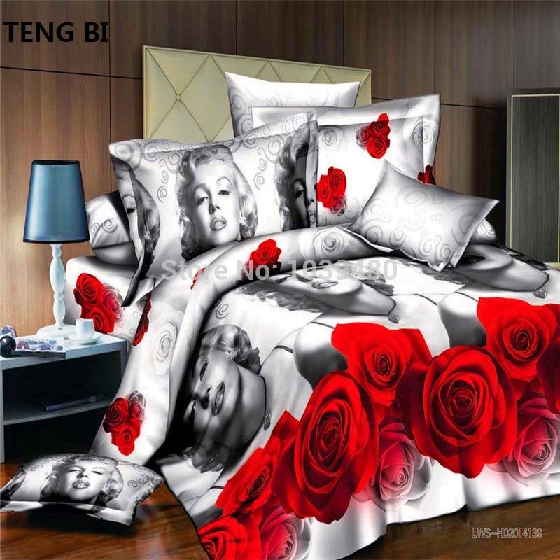 Wolf Tiger Blume Marilyn Monroe 3D Bettwäsche Set 4tlg. Bettwäsche Set / Bettwäsche / Bettbezug / Bettlaken / Kissenbezug