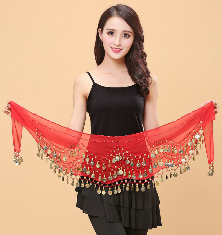 Wholesale Belly Dance Hip Scarf Women Belly Dancing Belt Sexy Chiffon 66pcs Gold Coins Scarf Free Shipping Purpl Blue,Red