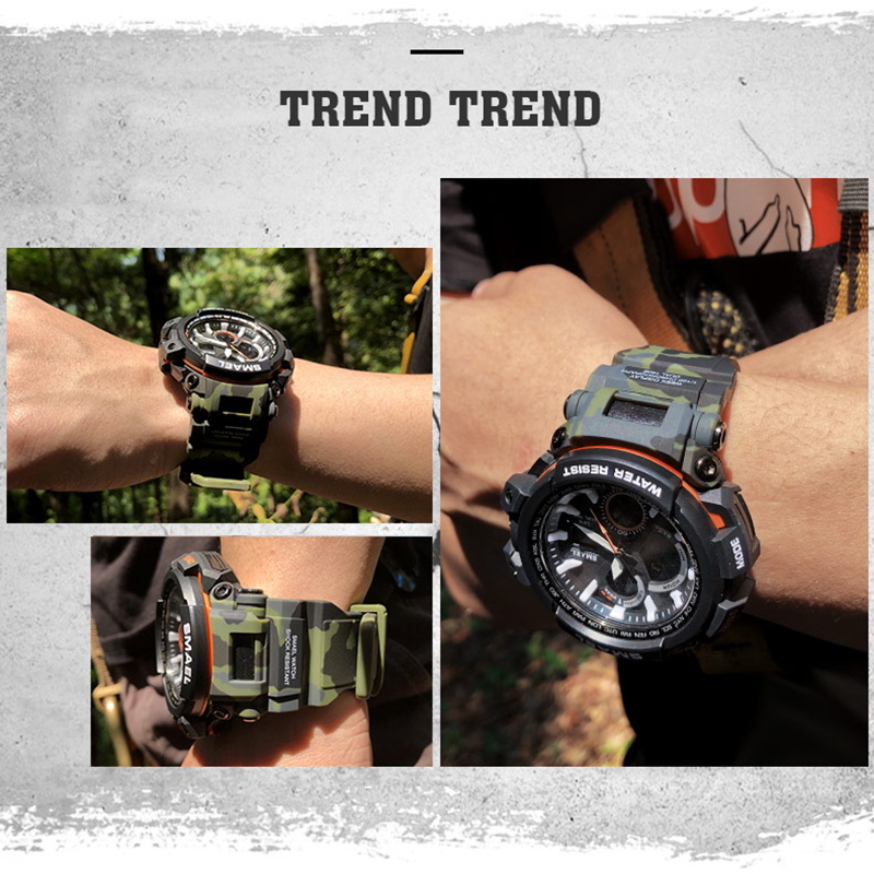 SMAEL Sport Watches 2018 Men Watch Waterproof LED Digital Watch Male - მამაკაცის საათები - ფოტო 6