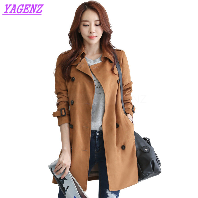 2018 Spring Autumn Windbreaker Coat Women Fashion Long Elegant   Trench   coat Young Women Double breasted Dark green Overcoat B303