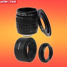 Fujian CCTV 35mm f1.7 Objectif + C-FX Mount Ring + Lens Hood + Macro Ring pour Fuji Fujifilm X-A2 X-T1 X-T2 X-T10 X-E2 X-E1 X-Pro1 X-Pro2