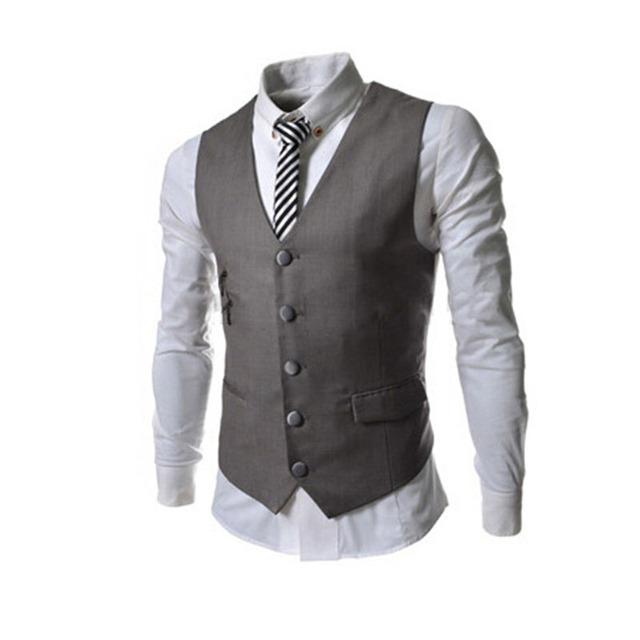 Moda terno dos homens novos colete bolso com zíper lateral decorado magro business casual homens vest para o clássico 8709