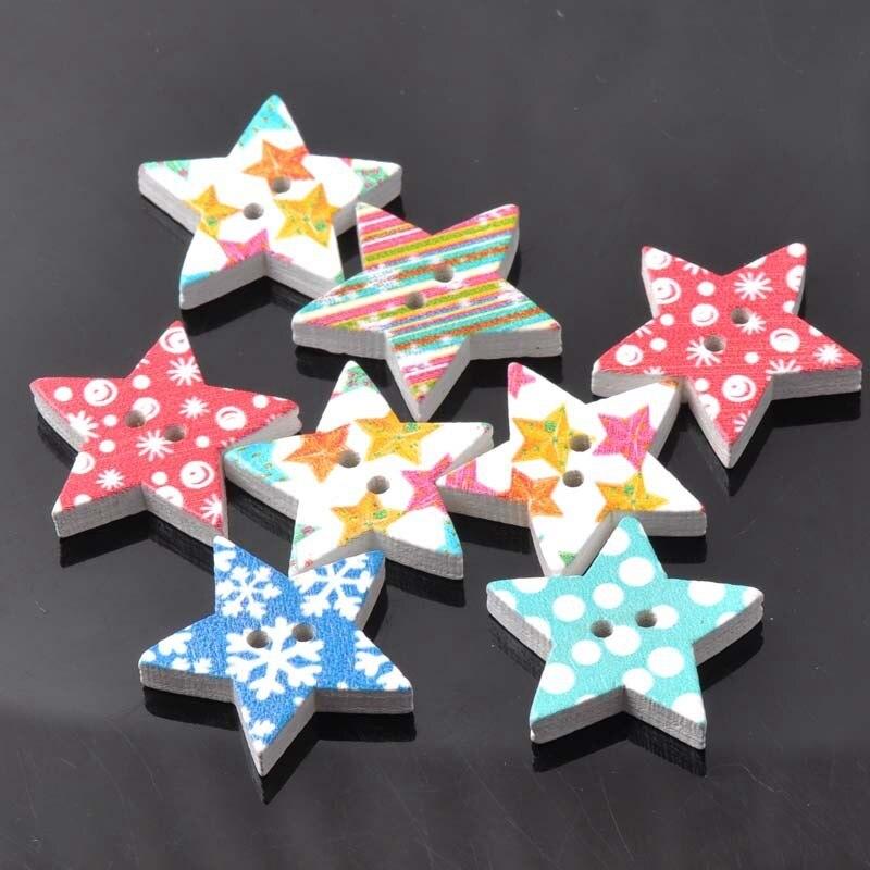 Смешанный Рождество элементы расписные деревянные в виде звезд Пуговицы 25 мм Bouton Буа ручной работы Скрапбукинг Craft 50 шт. mt0246