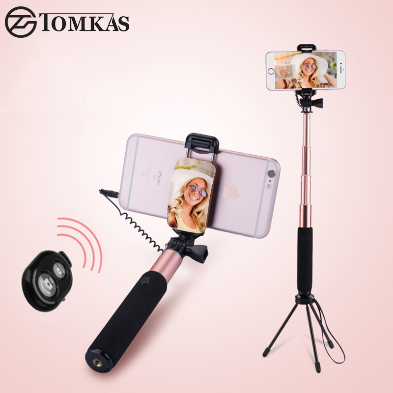 TOMKAS Selfie Stick with Bluetooth Remote Mini Tripod For Phone Monopod Palo Selfie Stick For iPhone