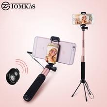 Tomkas selfie палка с bluetooth дистанционного управления мини-штатив для телефона пало монопод selfie стик для iphone 6 5s android samsung xiaomi